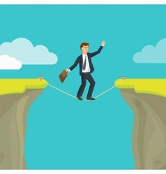 Abyss gap or cliff concept with businessman sky vector image vector image