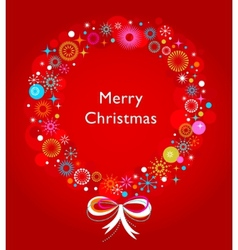 christmas wreath card template vector image