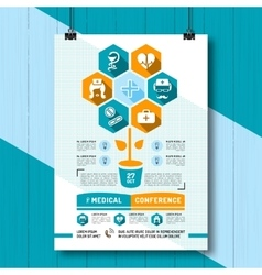 Medical Conference Poster Flat vector image