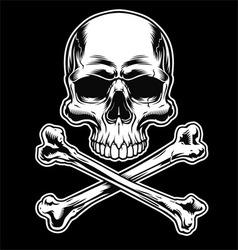 Skull and crossbones on black vector image vector image