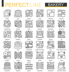 bakery outline mini concept symbols pastry food vector image vector image