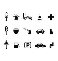 black traffic icon set vector image