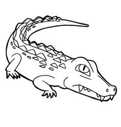 cartoon cute crocodile coloring page vector image vector image