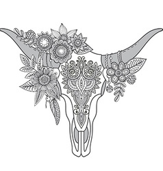 Decorative Indian bull skull with ethnic ornament vector image vector image