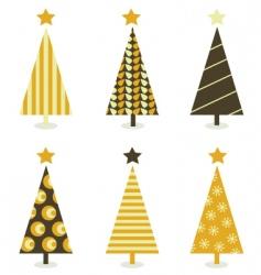 retro Christmas trees vector image