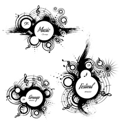 set of musical the grunge blots vector image vector image