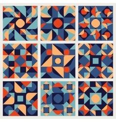 Set of Nine Seamless Blue Orange White vector image