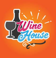 wine house orange background vector image