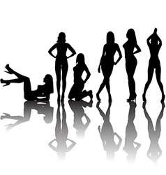 Black sexy women silhouettes with shadows vector image vector image