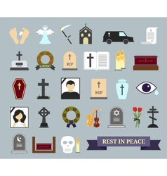 Death ritual and burial colored icons vector image