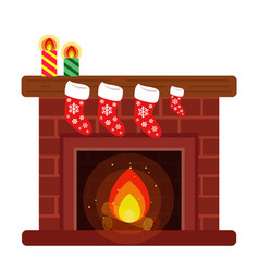home fireplace decorated with christmas stockings vector image