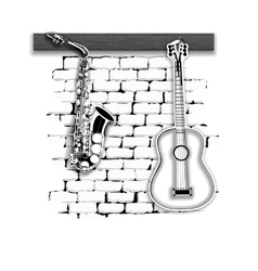 musical instruments saxophone and guitar on the vector image vector image
