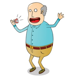 Old man with false teeth vector image vector image