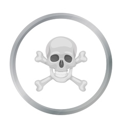 Pirate skull and crossbones icon in cartoon style vector image