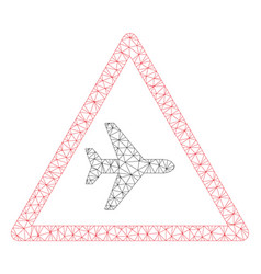 airplane warning polygonal frame mesh vector image