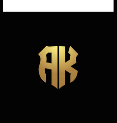 Ak logo monogram with gold colors and shield vector