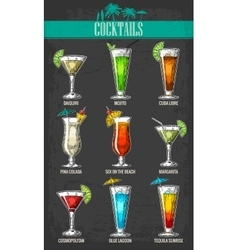 Alcohol cocktail set vector
