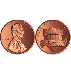 american money gold coin one cent penny vector image