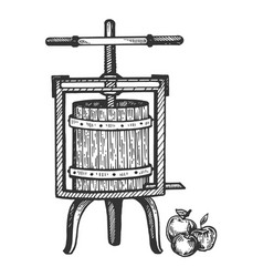 Apple cider juice press engraving vector