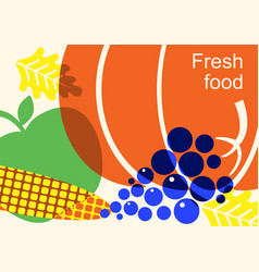 autumn harvest festival color with vegetables vector image