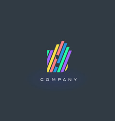 B letter logo with colorful lines design rainbow vector