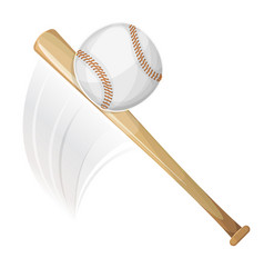 Baseball bat hitting ball vector