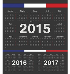 Black French circle calendars 2015 2016 2017 vector image
