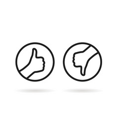 black round thin line thumbs up and down vector image