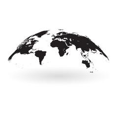 black world map globe isolated on white background vector image