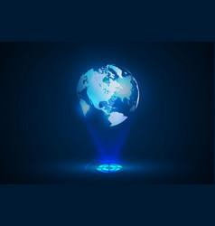 blue globe world map hologram vector image