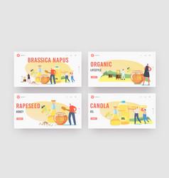 Brassica napus landing page template set vector