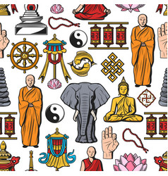 Buddhism religion symbols seamless pattern vector