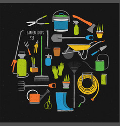 bundle of hand drawn gardening tools arranged into vector image
