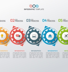 Business infographic template with gears 5 vector