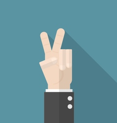Businessman hand show victory sign vector