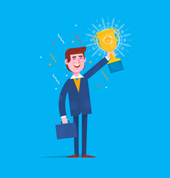 businessman holding winner golden cup over head vector image
