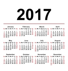 Calendar for 2017 on white background EPS8 vector