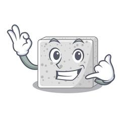 Call me fresh feta cheese isolated on maskot vector
