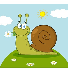 Cartoon Snail With A Flower In Its Mouth On A Hill vector image