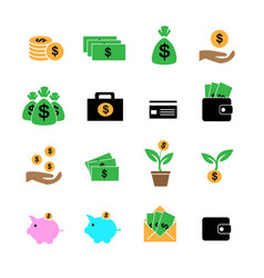 cash investment profit and assets in color icons vector image