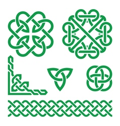 Celtic green Irish knots braids and patterns vector image
