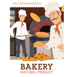 Chefs bakers cooking pizza and baking cakes vector