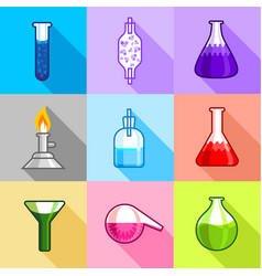 chemical equipment icons set flat style vector image