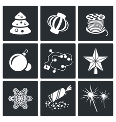 Christmas decorations Icons Set vector image