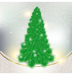 Christmas green tree on abstract background with vector