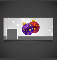 Christmas social media cover with balls vector