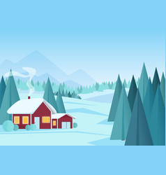 christmas winter landscape with small red house vector image