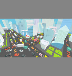 City street intersection traffic jams road 3d vector