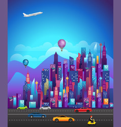 cityscape with modern skyscrapers and vehicles vector image