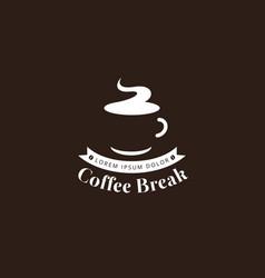 Coffee break logo in white color vector